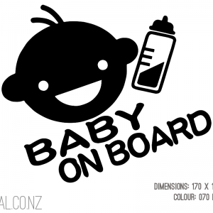 Cute Smiling Baby On Board With Bottle